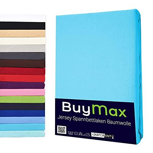 Buymax Spannbettlaken 90x200-100x200 cm Spannbetttuch Bettlaken 100% Baumwolle Jersey Bettbezug für Matratzen bis 25 cm Steghöhe, Türkis