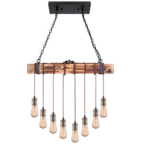 Pynsseu Industrial Kitchen Island Pendant Light with 8 E26...