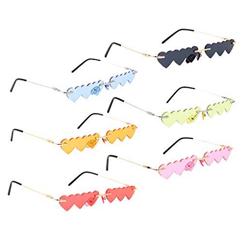 freneci Gafas de Sol con Lentes de Corazón Superpuestas Pequeñas Sin Montura para Mujer de 6 Piezas Gafas de Sol Rave