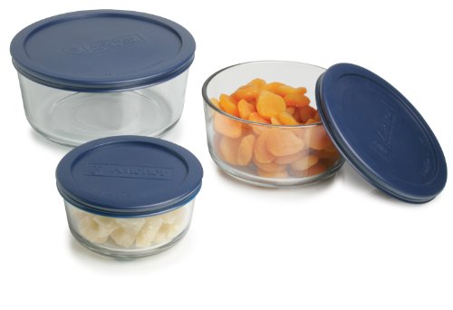 Anchor Hocking Classic Glass Food Storage Containers with Lids, Blue, 6-Piece Set -