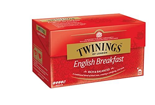 Twinings English Breakfast Tea - Schwarzer Tee im Teebeutel - kräftiger Schwarztee aus hochwertigen Teeblättern, gepflückt in Sri Lankas und Indiens besten Teegärten, 25 Teebeutel (50 g)