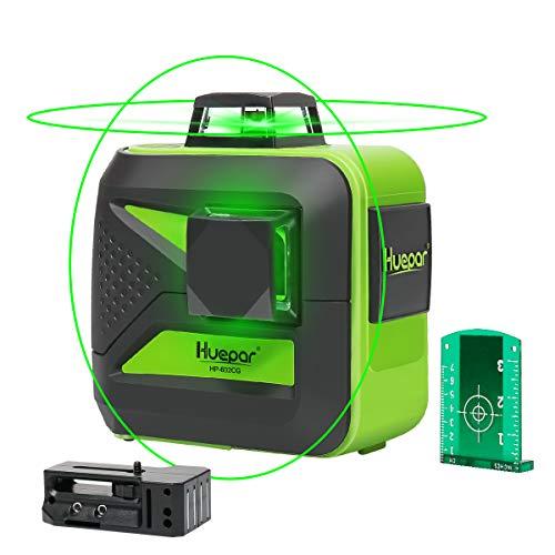 Huepar 602CG 2 x 360 kruislijnlaser groen, 360 graden lijnlaser zelfnivellerend laser niveau met pulsfunctie, 25 m werkbereik, (incl. universele lithiumbatterij, AA batterij en houder)