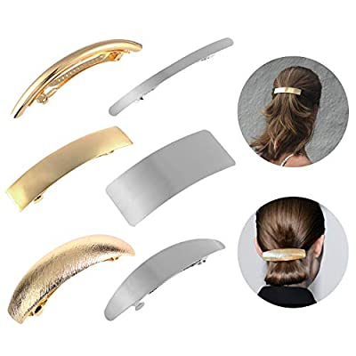 Hair Clips for Women Ladies, Funtopia 6 Pcs Simple Fashion Metal Hair Clips French Styles Hair Barrettes for Medium and Thick Hair, No Slip and Durable Automatic Clasp (Gold and Silver)