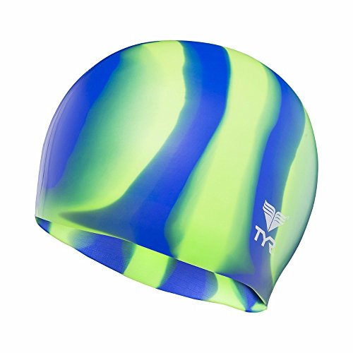 TYR–Gorro de natación de Silicona Multi, Gorro de Silicona para natación, Verde y Azul