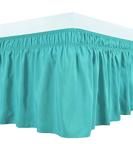 Biscaynebay Bettröcke zum Umwickeln, elastische Staub-Rüschen, leicht anzuziehen, knitter- und lichtbeständig, seidiger luxuriöser Stoff, einfarbig, Aqua für Queen-Size-Betten 53,3 cm lang