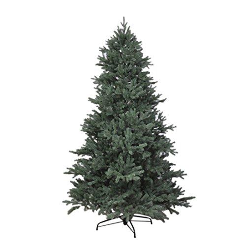 RS Trade HXT 1418 künstlicher PE Spritzguss Weihnachtsbaum 180 cm (Ø ca. 120 cm) mit ca. 3245 Spitzen, schwer entflammbarer Tannenbaum mit Schnellaufbau Klappsysem, inkl. Metall Christbaum Ständer