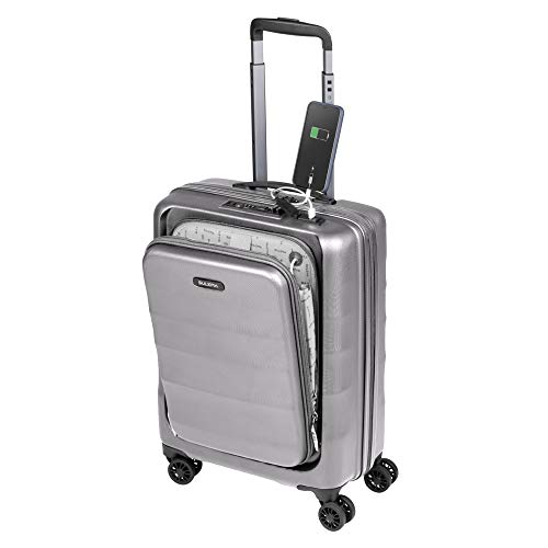 Cabin Suitcase 55 x 40 x 20 Hand Luggage Trolley Hard and Lightweight 4 Wheels Double Swivel 360 Degree TSA Lock Sulema USB American Tourer / Ryanair Cabins Grey grey 55x40x20cm