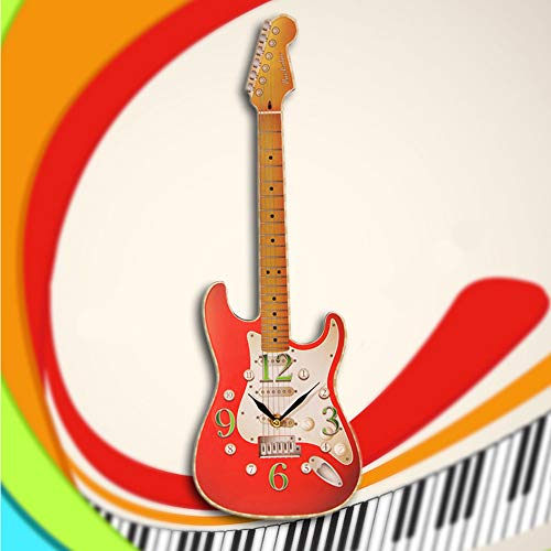 Guokee 1 Pezzo novità Chitarra a Forma di Orologio da Parete Chitarra elettrica Musica Orologio da Parete Room Decor Appeso Arte Regalo per Chitarrista Rosso 50 * 17 cm
