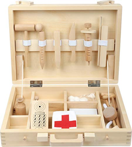 Small Foot 4602 Hochwertiger Kinder Arztkoffer aus Holz, klassische Naturholz Version komplett mit Zubehör