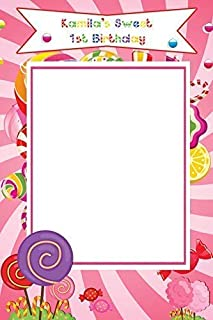 Candy Party Decorations, Candy Land Birthday Photo Booth Prop - Size 36x24, 48x36; Personalized Candy shoppe Frame, Candyland Birthday, Sweet Candy Party photobooth Handmade Party Supply Selfie frame
