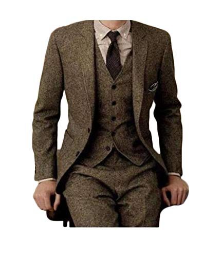 Men Vintage 3-Piece Suit Single Breasted Wool Tweed Brown Herringbone Custom Made