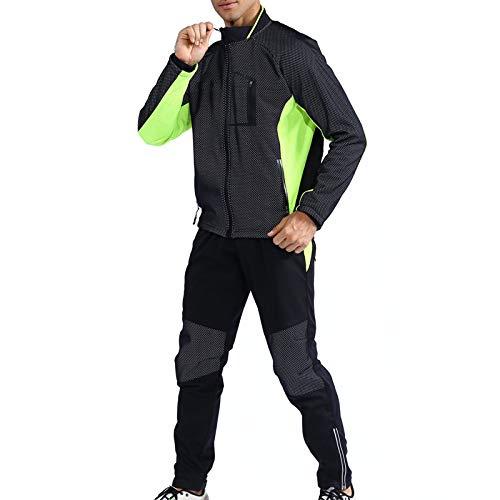 TZTED Hommes Cyclisme Veste Hiver Thermique Vêtements Ensembles, Long Manches Veste+Pantalon de Vélo Pantalon pour Homme Veste Vélo,Vert,4XL