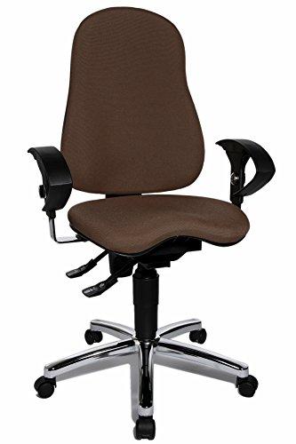 Topstar SI59UG08, Sitness 10 ergonomischer Bürostuhl, Schreibtischstuhl, inkl. höhenverstellbaren Armlehnen, Bezugsstoff dunkelbraun