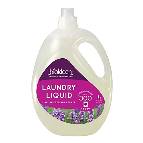 Biokleen Natural Laundry Detergent - 300 HE Loads - Liquid, Eco-Friendly, Plant-Based, No Artificial Fragrance, Colors or Preservatives, Lavender Lily, 150 Fl Oz