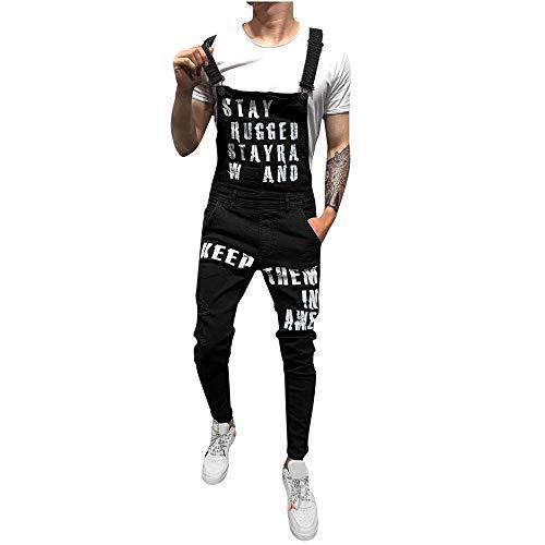 Peto Corte Ajuste Holgado pantalón Chandal Hombre Mono impresión de Letras Roto Vaquero Mezclilla Jumpsuit Casual Pantalones con Agujeros para Hombre con Peto Tirante
