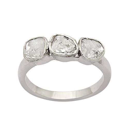 De compromiso hecho a mano de polki diamante rebanada natural sin cortar 0,75 CTW anillo de mujer Plata de ley 925 rodio blanco (12)