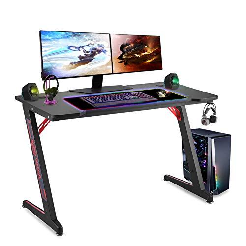 Scrivania Gaming Ergonomica Tavolo Gaming PC en Fibra di Carbonio con Gancio per Cuffie Scrivania Gamer da Gioco
