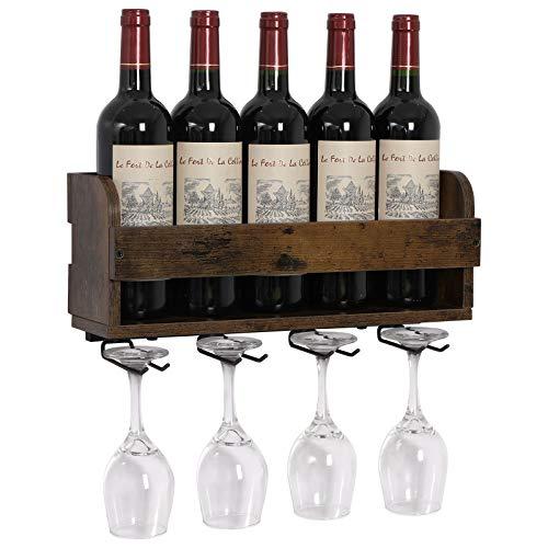 OROPY Estante de Vino montado en la Pared y Soporte de Vidrio,para 5 Botellas y 4 Copas, Estante de exhibición de Almacenamiento de Vino rústico de Madera, para decoración de Cocina, Comedor, Bar