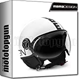 MOTOTOPGUN Momo Design - Casco de moto Jet Fighter Classic, color blanco brillante-negro, talla M