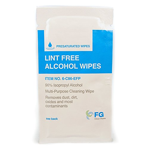 """FG Clean Wipes 8""""x6"""" Large Lint Free Alcohol Wipes Individually Wrapped- 96% IPA Box of 30 (6-C86)"""