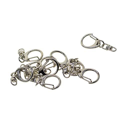 Harilla 10 Stück Alloy Lobster Clasps Drehbare Karabinerhaken Clips Schlüsselbund Schlüsselring Silber