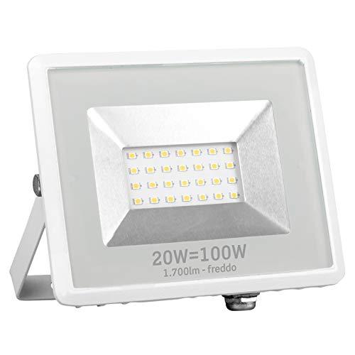 Faro LED Faretto Esterno impermeabile IP65 20W Bianco (1700 lumen equivalenti a 100W) - Luce Bianco Freddo 6500K - Fascio Luminoso 110° Eurocali