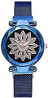 女性のクォーツ時計シンプルなファッション黒青シルバーステンレススチール中国のクォーツシルバーパープルローズゴールド防水カジュアルウォッチかわいい30メートル (Color : Bleu)