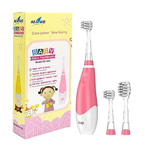 SEAGO Baby Elektrische Zahnbürste mit LED Lampe, Entworfen für Kinder von 6 Monaten bis 3 Jahren;2 Minuten Timer,30sErinnerung,2 groß und 1 klein Bürstenköpfe,Rosa
