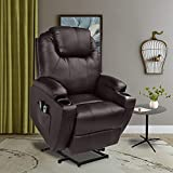 U-MAX Lift Recliner Power Lift Chair for Elderly Wall Hugger PU Leather with Remote Control (Brown)