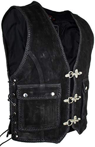 Herren Nubuk Lederweste in Matt Schwarz - Aufgesetzte große Taschen (XL)