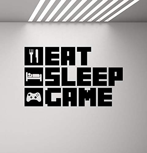 Eat Sleep Game Muurtattoo Poster Videospel Geschenk voor spelers kamerbord PS4 Xbox Gaming citaat vinyl sticker speelkamer decor muurkunst druk 926