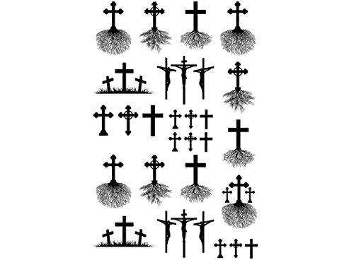 Cross Roots 3/8' to 1-1/16' - Black 14CC312 Fused Glass Decals