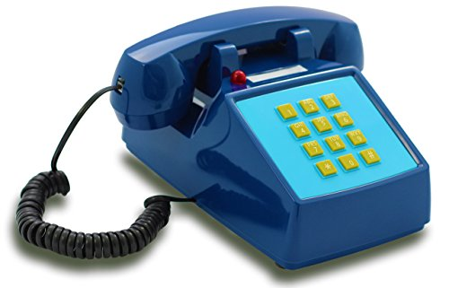 OPIS PushMeFon cable: 1970s inspired fixed-line push-button retro telephone with metal bell ringer (dark blue)