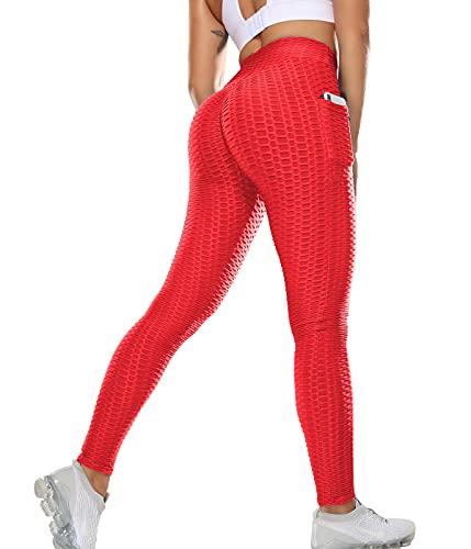 SLIMBELLE Leggings push up para mujer, pantalones de deporte con bolsillos, cintura alta, pantalones de yoga, pantalones de fitness, pantalones de gimnasio para entrenamiento y tiempo libre #2 Rojo M