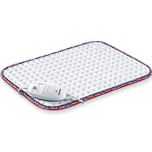 Beurer HK-UK Comfort Heat Pad. Electric heat pad for pain relief and relaxation. 3 electronically regulated temperature settings. Machine-washable. Automatic switch-off. Union Jack trim