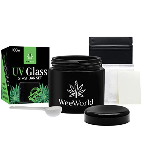 Weeworld 100ml UV glass stash jar set - multipurpose storage containers - portable airtight smell free screw top lid jars plus accessories preserves and secures your herbs
