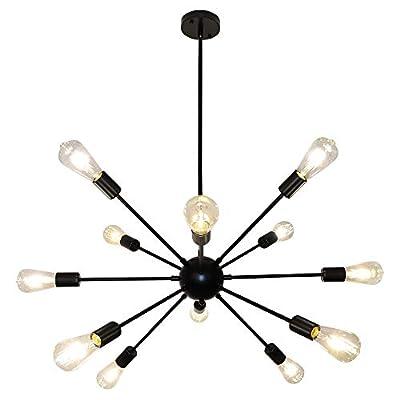 LynPon Sputnik Chandelier 12 Lights Modern Black Ceiling Light Fixture Industrial Vintage Pendant Lighting for Dining Room Kitchen Living Room Bedroom