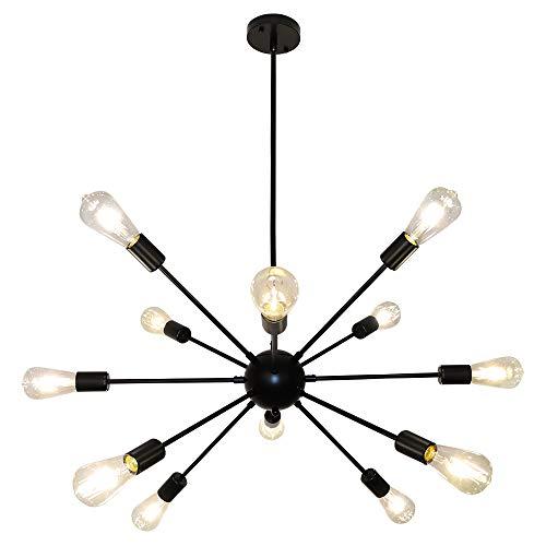 LynPon Sputnik Kronleuchter Industriell,12-Flammig Pendelleuchte Vintage, Einstellbare Höhe 4x9.85in, Moderne Schwarz Deckenleuchte Rustikaler Stil für Wohnzimmer, Schlafzimmer, Esszimmer