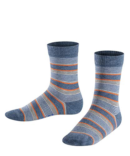FALKE Kinder Socken Mixed Stripe - 83{9221fe963da06a261484c0d698734bb0e22be5ad174e0b4836ac4a9eac166c65} Baumwolle, 1 Paar, Blau (Light Denim 6660), Größe: 31-34