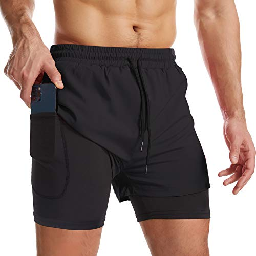 Surenow Mens 2 in 1 Running Shorts Quick Dry Athletic Shorts with Liner, Workout Shorts with Zip Pockets and Towel Loop Black