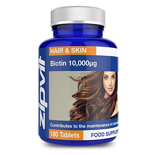 Biotin Hair Growth Supplement 10,000 mcg, 180 Vegan Tablets (6 Months Supply). Vegetarian Society Approved.