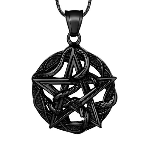 Hipunk Wiccan Necklace Pentagram Pentacle Pendant Star Entwined Snake Necklace Satanic Wicca 316L Stainless Steel Gothic Medallion Pendant Black Gun Plated Amulet Protection Jewelry SP0054B