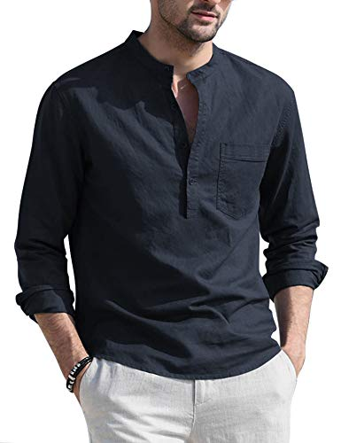 JINIDU Camiseta de manga larga para hombre, algodón y lino, estilo informal azul XL