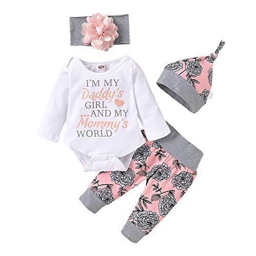 ESHOO Baby Letter Print Strampler + Lange Hosen + Hut + Stirnband Outfits Set Weiß 70(0-3 Monate)