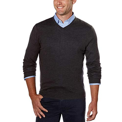 Calvin Klein Men's Merino Solid V-Neck Sweater (Ansa Grey, XX-Large)