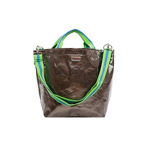brasi&brasi Shopper Shop&Summer Stripe Zip - Bolsa para la compra (cierre de cremallera), color verde