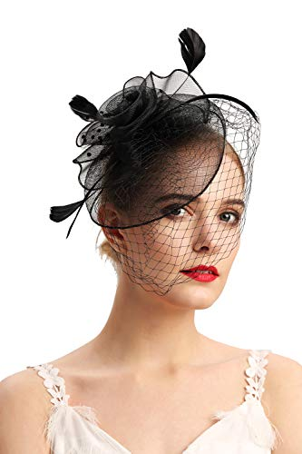Fascinators Hats 20s 50s Hat Pillbox Hat Cocktail Tea Party Headwear with Veil for Girls and Women(D-black)