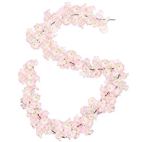 KST 2 Piezas Guirnalda de Flores de Cerezo Artificial, Vid Colgante de Flores de Seda para balcón, Pared, jardín, Fiesta en casa, decoración de Boda
