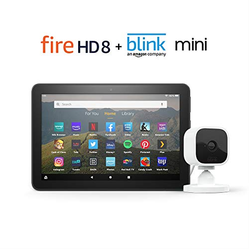 Fire HD 8 Smart Home Bundle including Fire HD 8 Tablet 64 GB Without Ads (Black) with Blink Mini Camera