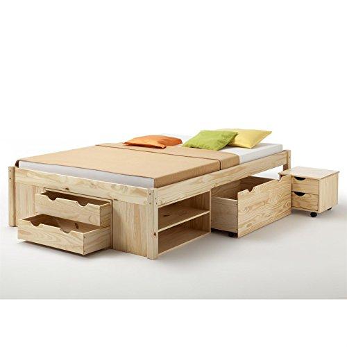 Funktionsbett Jugendbett Doppelbett SABRINA Kiefer massiv natur lackiert Liegefläche 140 x 200 cm (B x L) - 3